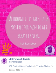 UCC Feminist Society highlight male breast cancer