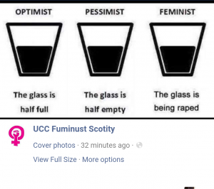 Cover photo of parody Facebook account resorts to rape jokes.