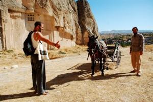 Horse hitch hiking in Turkey.